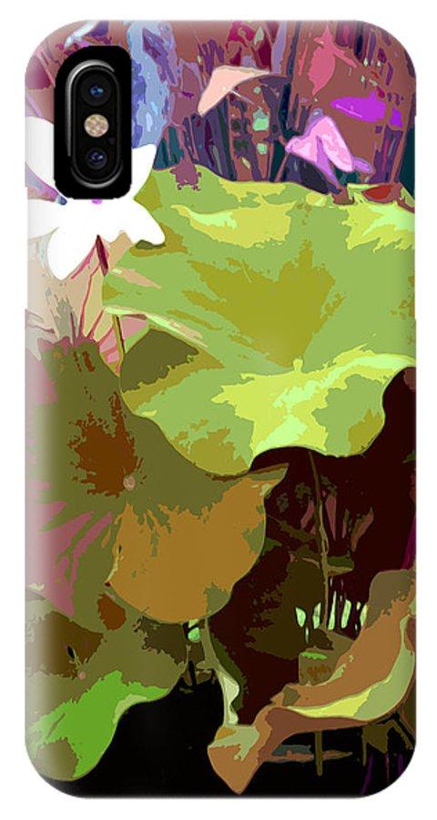 Lotus IPhone X Case featuring the digital art Lotus Design by John Lautermilch