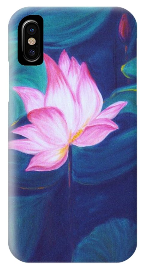 Floral IPhone X Case featuring the painting Lotus by Dina Holland