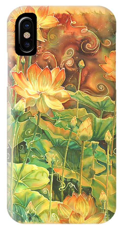 Flower IPhone X Case featuring the painting Lotus Field by Deborah Younglao