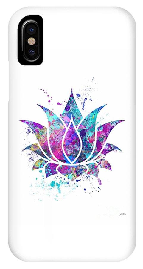 Watercolor Print IPhone X Case featuring the digital art Lotus Flower Watercolor Print by Svetla Tancheva