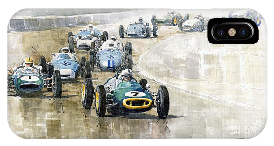 Automotive IPhone X Case featuring the painting 1961 Germany Gp #7 Lotus Climax Stirling Moss Winner by Yuriy Shevchuk