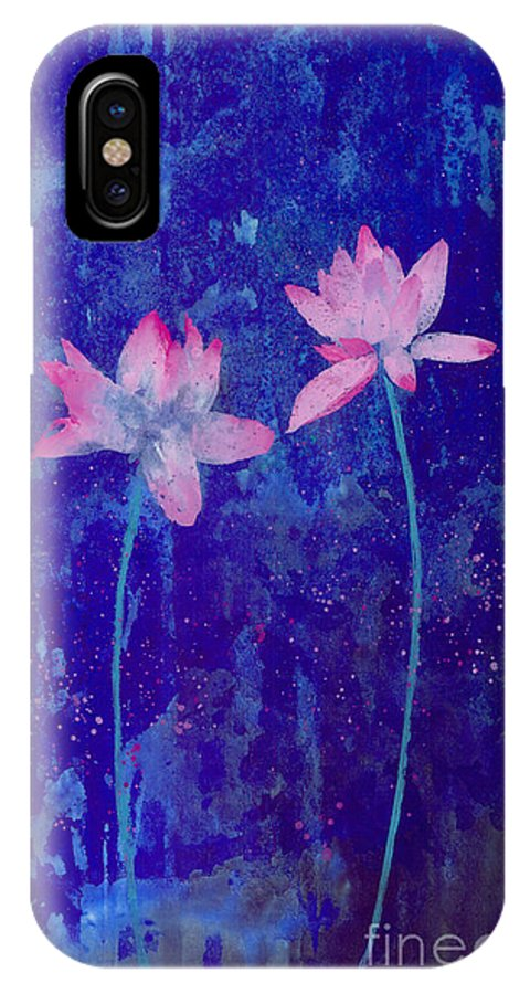 Free Style Pink Lotus Flowers In Bluish Background. This Is A Contemporary Chinese Ink And Color On Rice Paper Painting With Simple Zen Style Brush Strokes.  IPhone Case featuring the painting Lotus I by Mui-Joo Wee