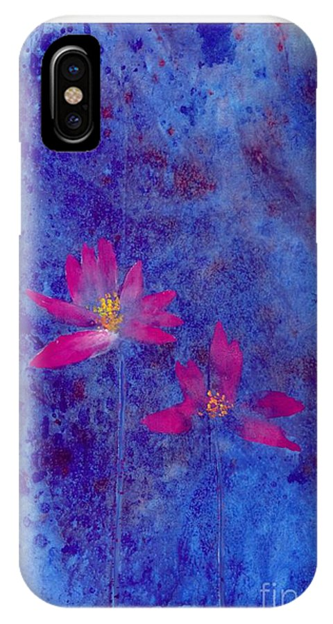 Free Style Lotus Flowers In Dreamy Blue Background. This Is A Contemporary Chinese Ink And Color On Rice Paper Painting With Simple Zen Style Brush Strokes.  IPhone X Case featuring the painting Lotus II by Mui-Joo Wee