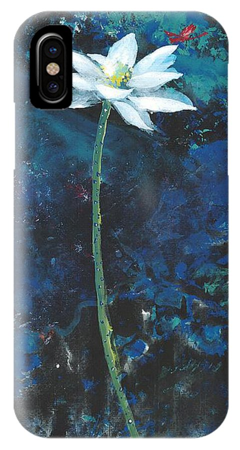 White Lotus Flower With A Red Dragonfly In Dreamy Green Background. This Is A Contemporary Chinese Ink And Color On Rice Paper Painting With Simple Zen Style Brush Strokes.  IPhone X Case featuring the painting Lotus IIi by Mui-Joo Wee