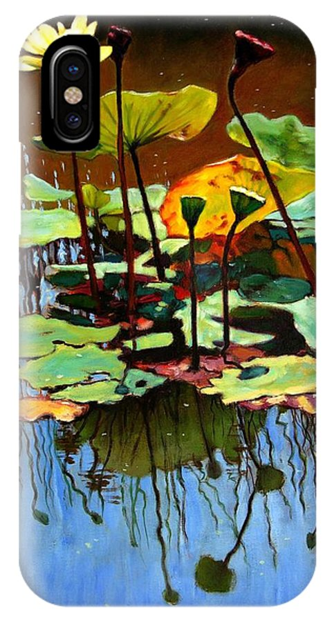 Lotus Flower IPhone X Case featuring the painting Lotus In July by John Lautermilch