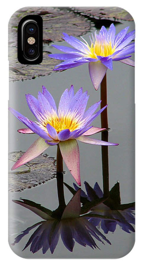 Lily IPhone X Case featuring the photograph Lotus Reflection 4 by David Dunham