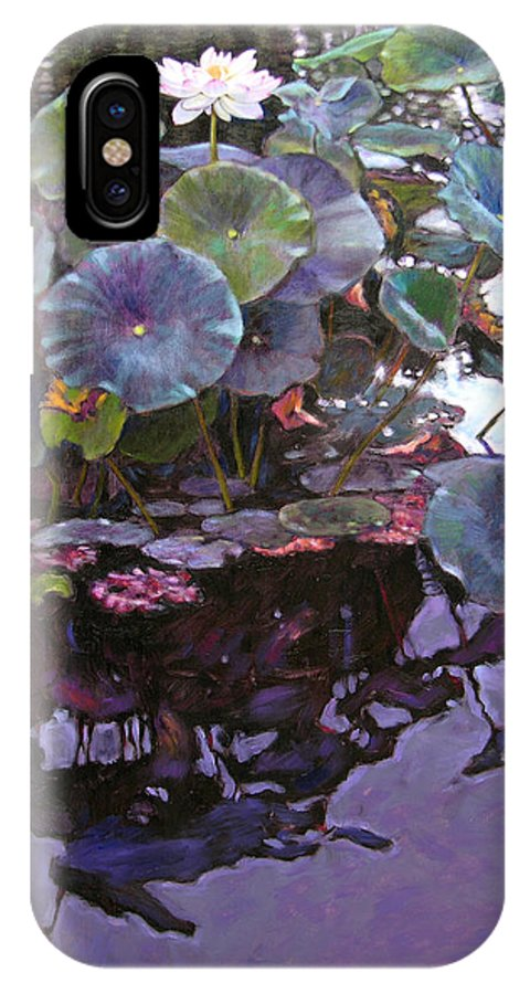 Lotus Flower IPhone X Case featuring the painting Lotus Reflections by John Lautermilch
