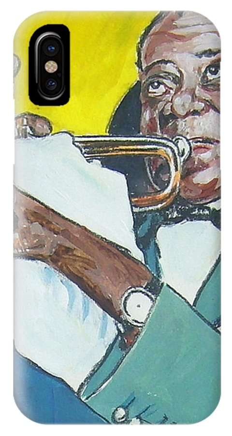 Louis Armstrong IPhone X Case featuring the painting Louis Armstrong by Bryan Bustard