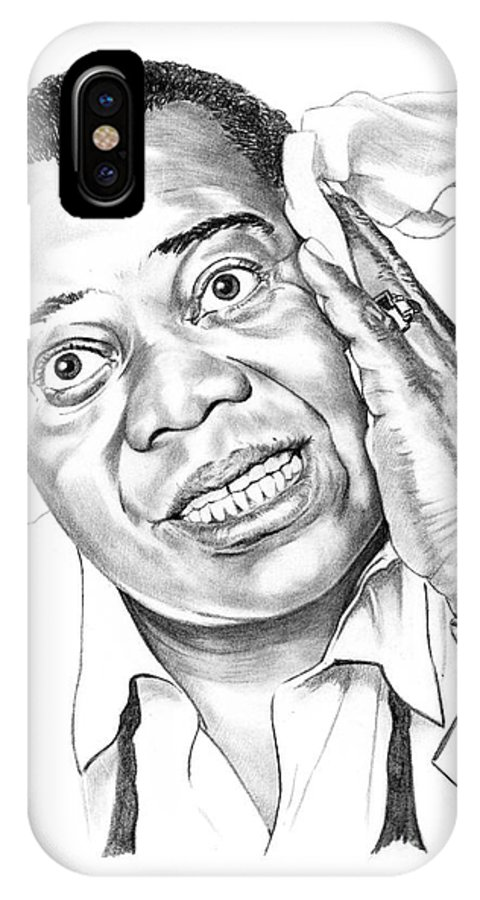 Music IPhone X Case featuring the drawing Louis Satchmo Armstrong by Murphy Elliott