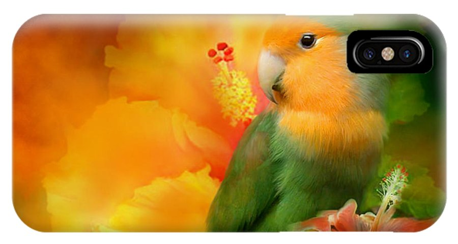 Lovebird IPhone X Case featuring the mixed media Love Among The Hibiscus by Carol Cavalaris