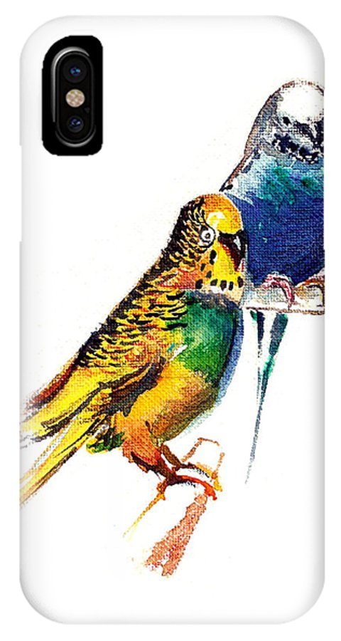 Nature IPhone X Case featuring the painting Love Birds by Anil Nene