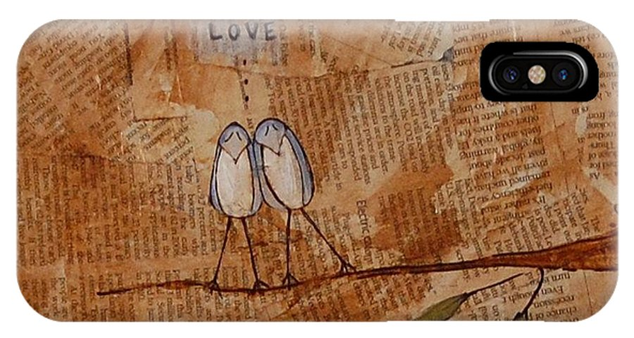 Bird IPhone X Case featuring the mixed media Love Birds by Emily Martinez