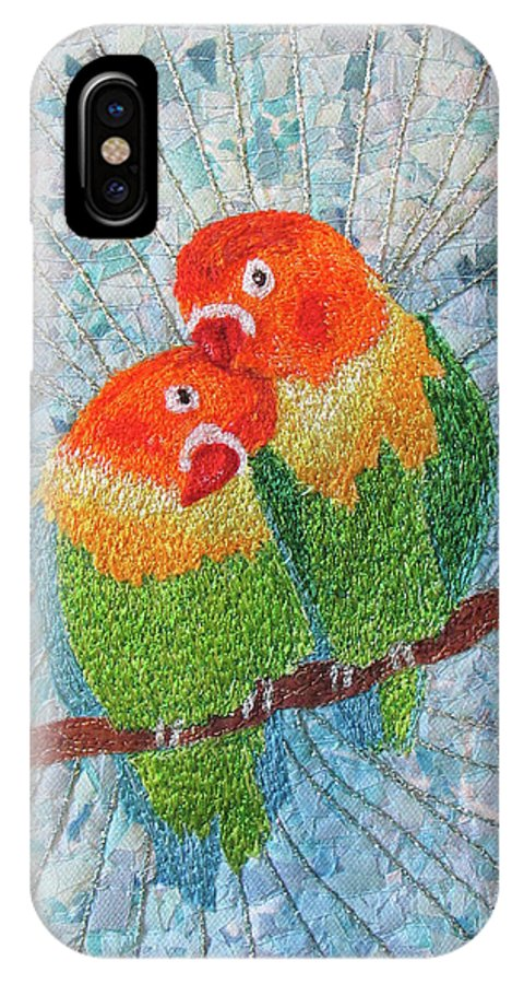 Love Birds IPhone X Case featuring the tapestry - textile Love Birds2 by Dolores Fegan