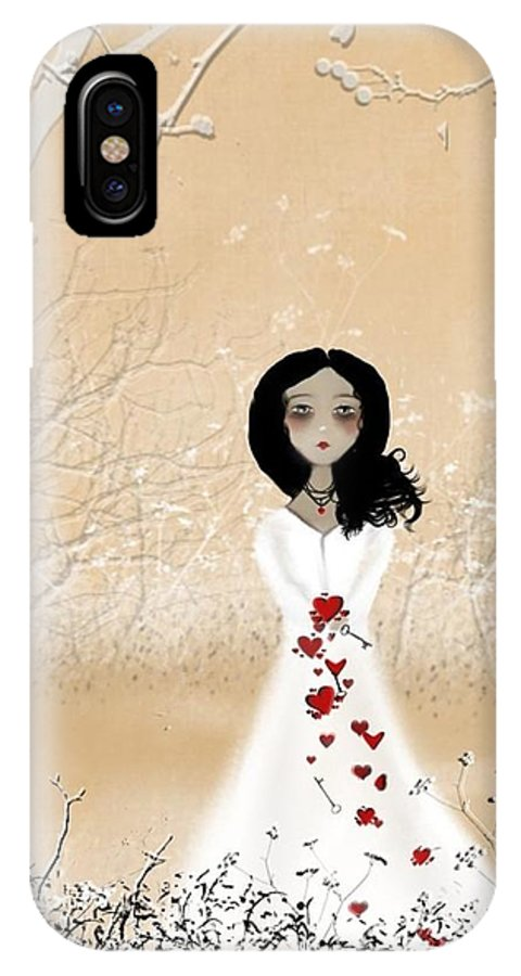 Girl IPhone X Case featuring the digital art Love Can Touch Us One Time by Charlene Zatloukal