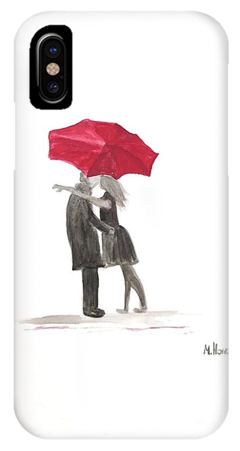 Red Umbrella IPhone X Case featuring the painting Love Couple With Red Umbrella by Monika Howarth