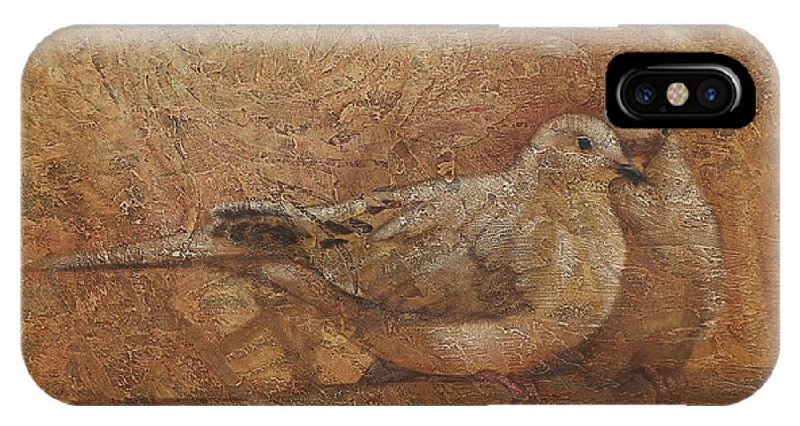 Doves IPhone X Case featuring the painting Love Doves by Sandra Quintus