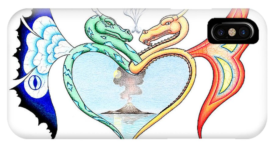 Fantasy IPhone X / XS Case featuring the drawing Love Dragons by Robert Ball