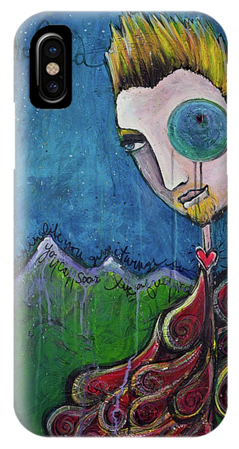 Birdman IPhone X Case featuring the painting Love For Birdman by Laurie Maves ART