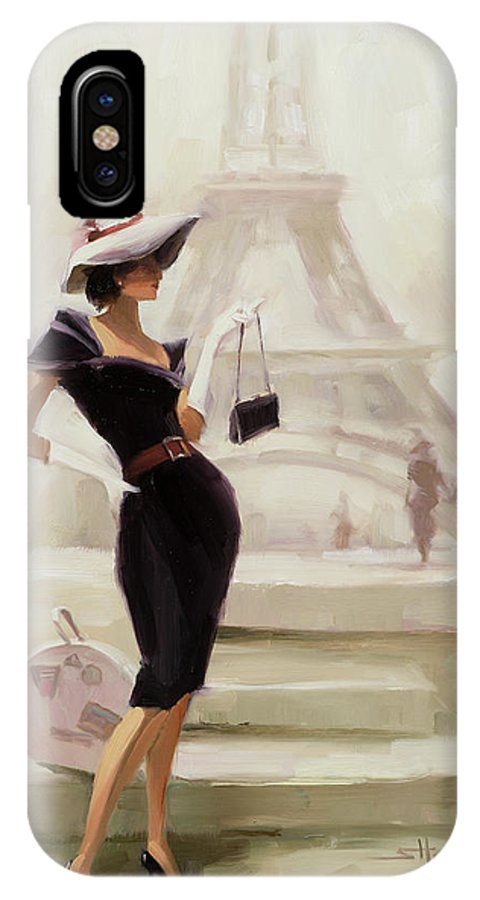 Paris IPhone X Case featuring the painting Love, From Paris by Steve Henderson