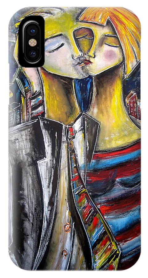 Art For Saleart Prints IPhone X Case featuring the painting Love In The City by Jennifer Main