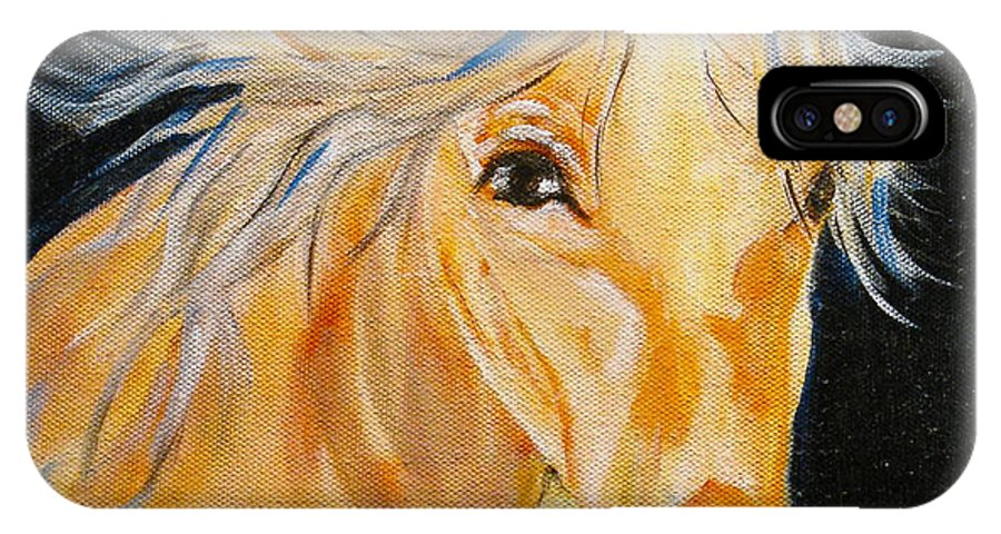 Horses IPhone X Case featuring the painting Love Story by Donna Steward