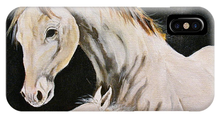 Horses IPhone X Case featuring the painting Love Story Part 3 by Donna Steward
