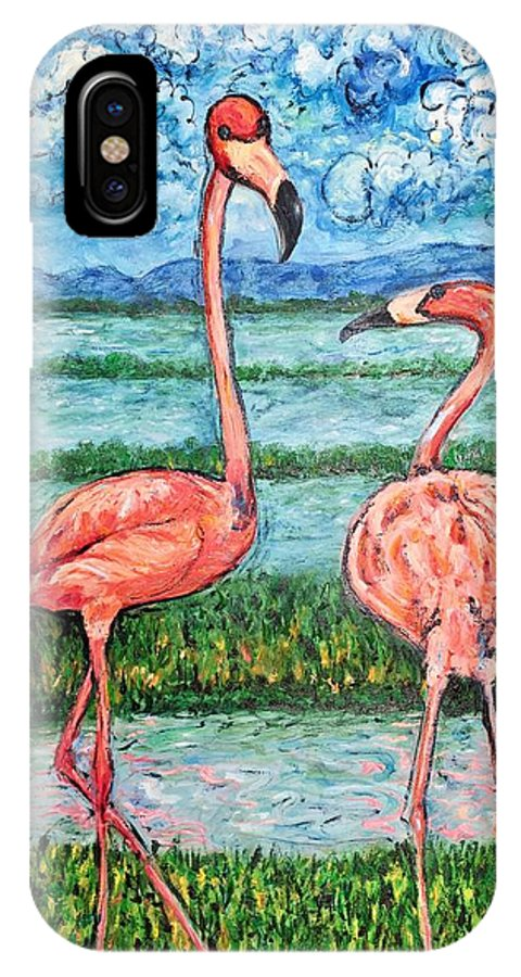Lanscape IPhone X Case featuring the painting Love talk by Ericka Herazo