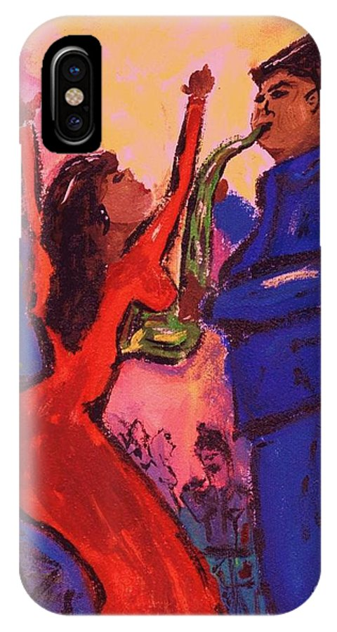 Jazz IPhone X Case featuring the painting Love That Sax Man by Sidra Myers