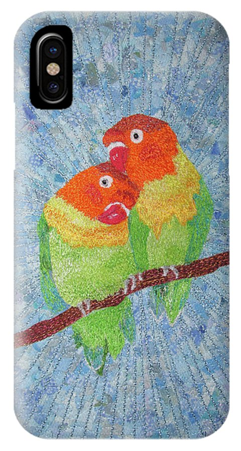 Lovebirds IPhone X Case featuring the tapestry - textile Lovebirds by Dolores Fegan