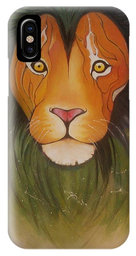 #lion #oilpainting #animal #colorful IPhone X Case featuring the painting Lovelylion by Anne Sue