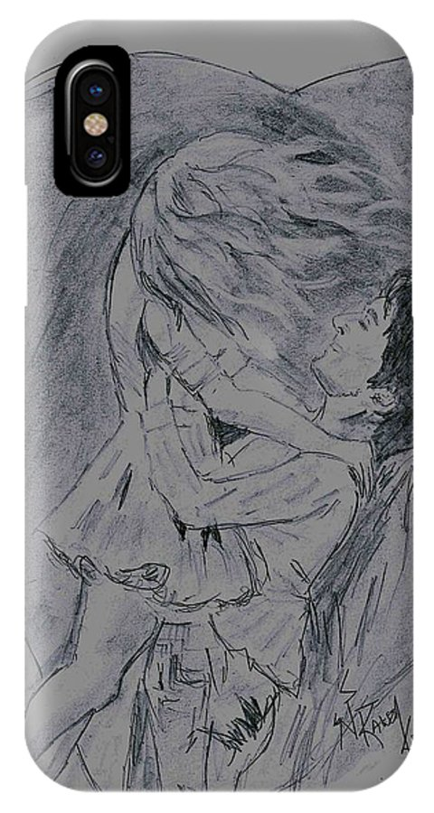 True Lovers Girl And Boy IPhone X Case featuring the drawing Lovers Special by Rakesh Kumar Natarajan