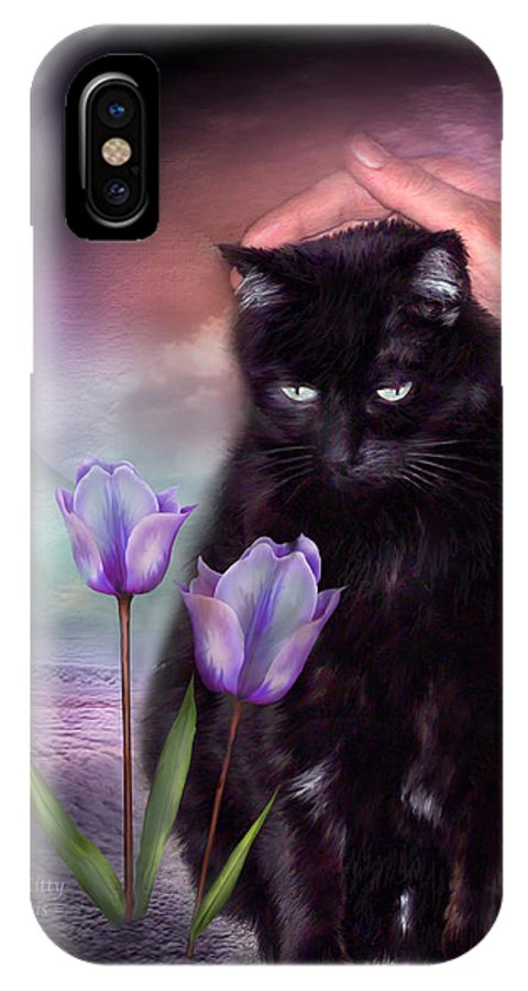 Cat IPhone X Case featuring the mixed media Loving My Kitty by Carol Cavalaris