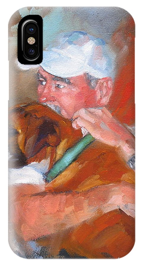 Oil Painting IPhone X Case featuring the painting Loving Roxie by Laura Lee Zanghetti