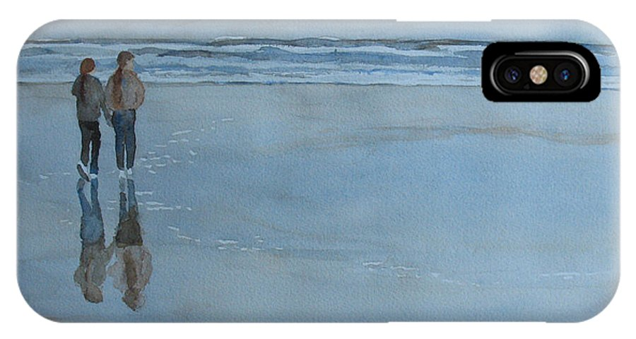 Girls IPhone X Case featuring the painting Low Tide At Agate Beach by Jenny Armitage