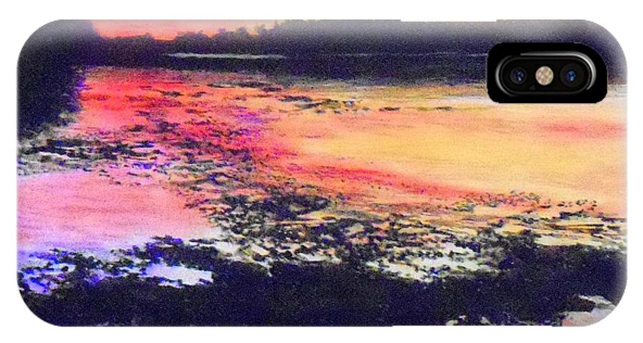 Low Tide On The Penobscot River Sunset IPhone X Case featuring the painting Low Tide On The Penobscot River by William Tremble