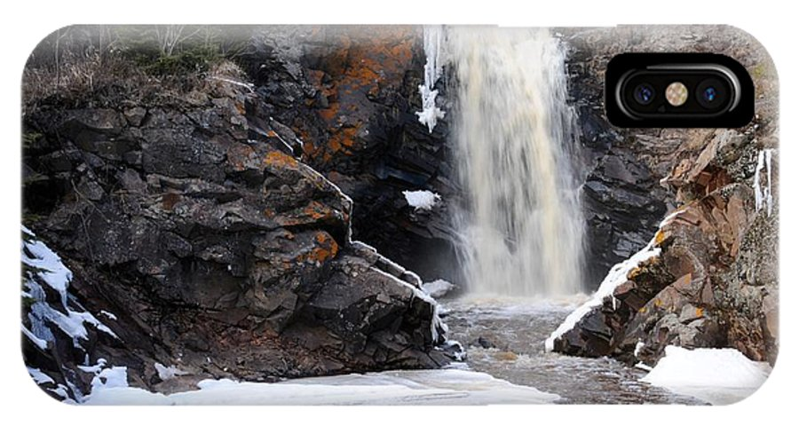 Waterfalls IPhone X Case featuring the photograph Lower Falls On Fall River by Sandra Updyke