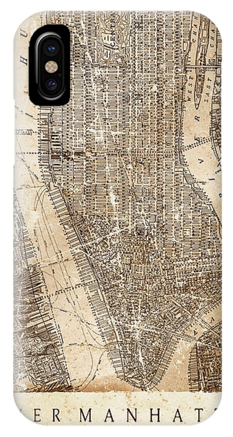 Upper Manhattan IPhone X Case featuring the mixed media Lower Manhattan by Malcolm Watson