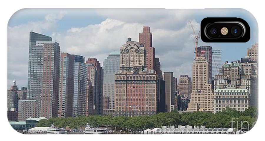 New York IPhone X Case featuring the photograph Lower Manhattan Panorama by Thomas Marchessault
