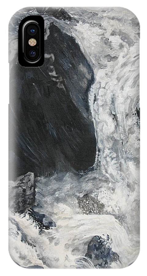 Water IPhone X / XS Case featuring the painting Lower Vernal Black And White by Travis Day