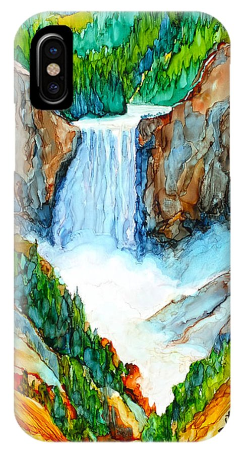 Yellowstone IPhone X / XS Case featuring the painting Lower Yellowstone Falls by Diane Bay