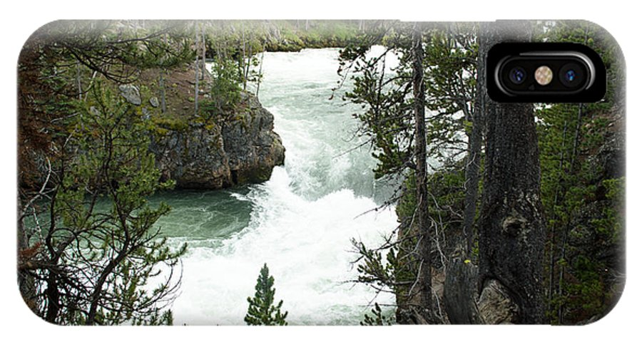 Yellowstone National Park IPhone X Case featuring the photograph Lower Yellowstone Falls by Linda Kerkau