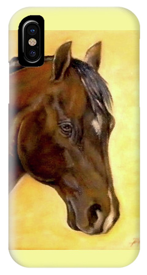 Horse IPhone X Case featuring the painting Lt Little Bit Fritz by Penny Price