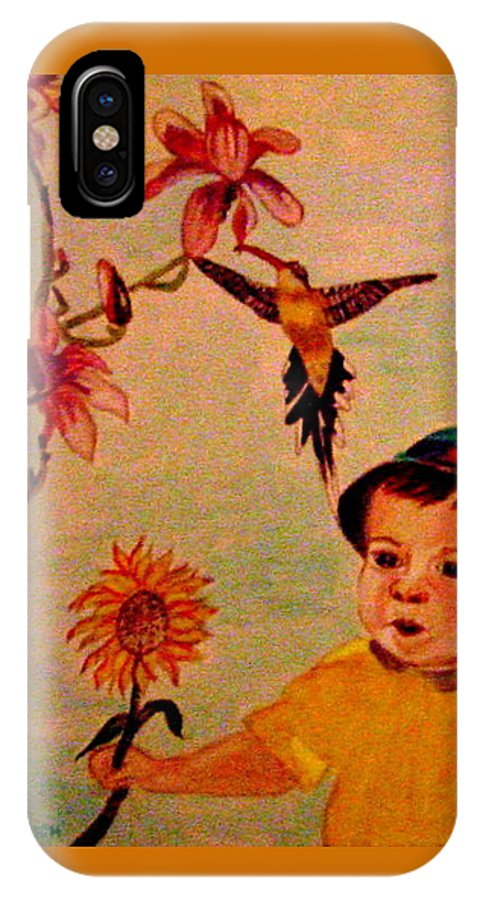 France IPhone X Case featuring the painting Lucas Le Petit Tournesol by Rusty Gladdish