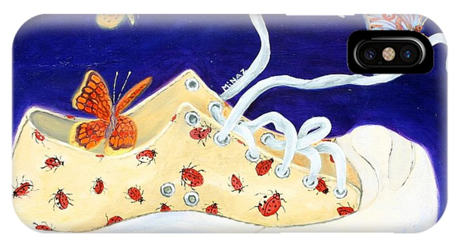 Running Shoes IPhone Case featuring the painting Lucky Lady Bug Shoe by Minaz Jantz