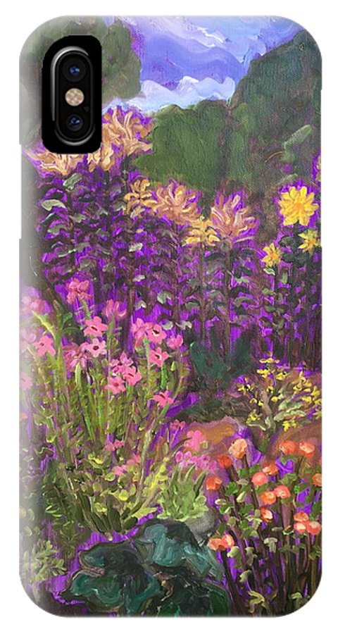Landscape IPhone X Case featuring the painting Luhan Garden by Ruth Hansen