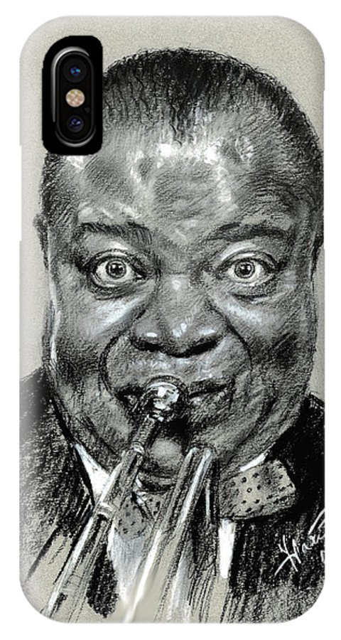 Louis Armstrong IPhone X Case featuring the pastel Louis Armstrong by Ylli Haruni