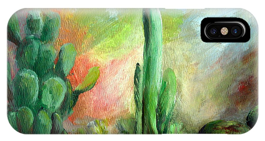 Floral Painting IPhone X Case featuring the painting Lumiere De Desert by Muriel Dolemieux
