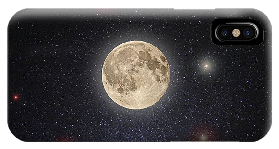 Moon IPhone X Case featuring the photograph Luna Lux by Steve Gadomski