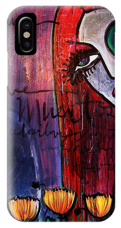 Luna IPhone X Case featuring the painting Luna Our Love Muertos by Laurie Maves ART