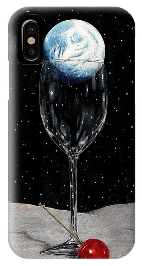Moon Earth Space Cocktail Glass Art Bruce Lennon Art IPhone X Case featuring the painting Lunar Cocktail by Bruce Lennon